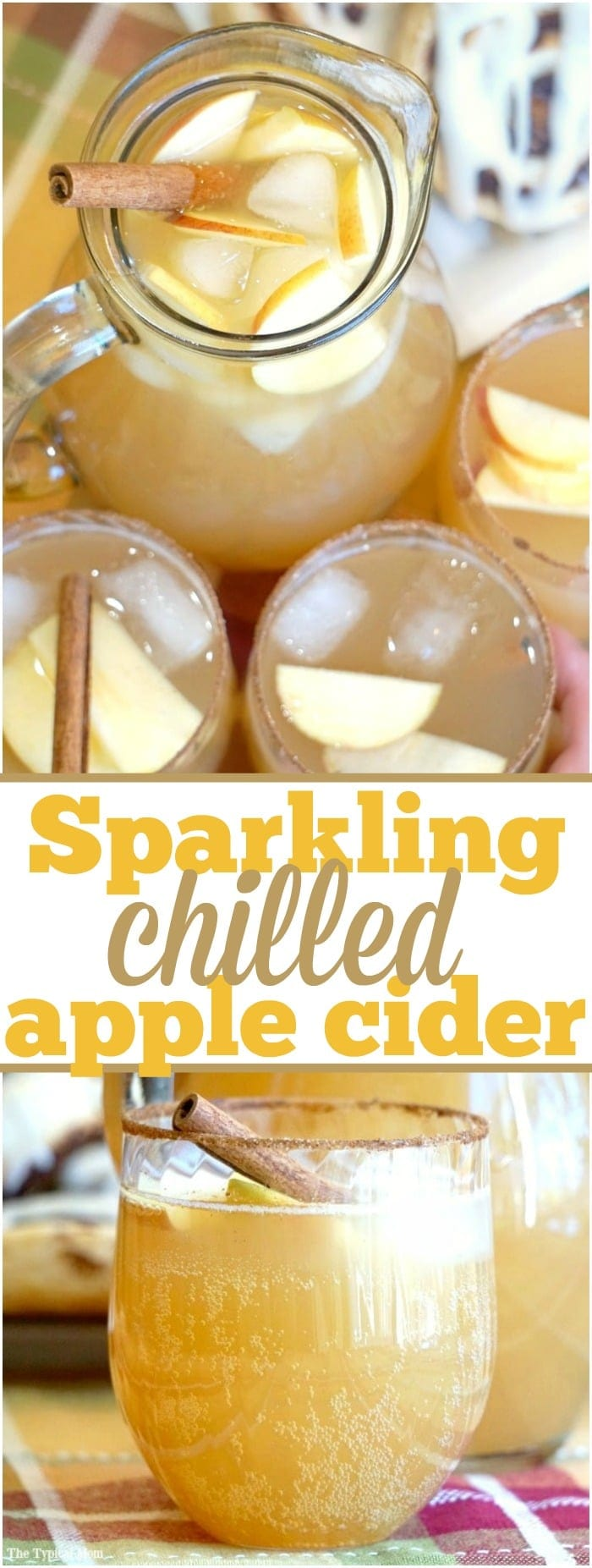 Chilled sparkling apple cider recipe that tastes amazing!! Make it a mocktail or a cocktail, perfect Fall drink that everyone raves about!! #apple #cider #mocktail #cocktail #chilled #drink #fall #sparkling