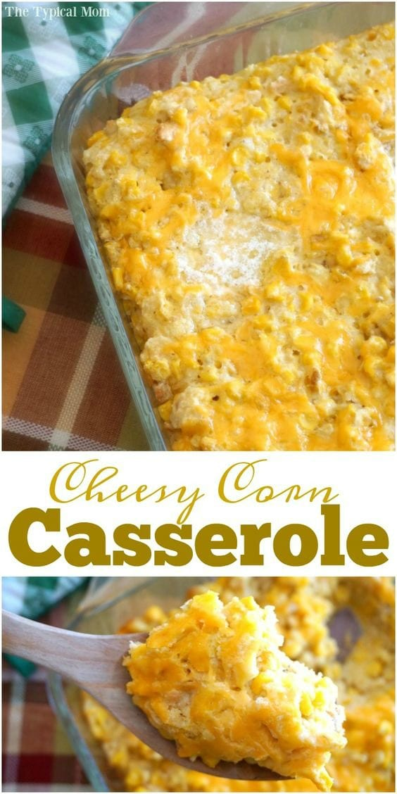 This is by far the best cream corn casserole recipe you will ever make! Made with a sleeve of Ritz crackers and lots of cheese it's a fabulous vegetable side dish during the holidays or year round. Just throw everything together and bake for a sweet cheesy dish that goes great with ham or turkey. #corn #casserole #cream #creamed #cheese #cheesy #ritz #cracker