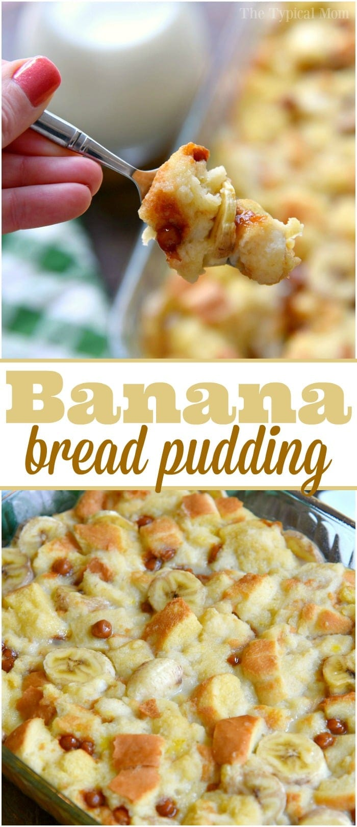 This easy banana bread pudding recipe is so amazing!! Like a dessert or brunch casserole made with overripe bananas and caramel bits if you want it to be really out of this world. You have to try this recipe for your family or to bring to a potluck, I assure you there won't be any left to take home! #banana #bread #pudding #easy #brunch #breakfast #casserole #dessert #overripe #recipe