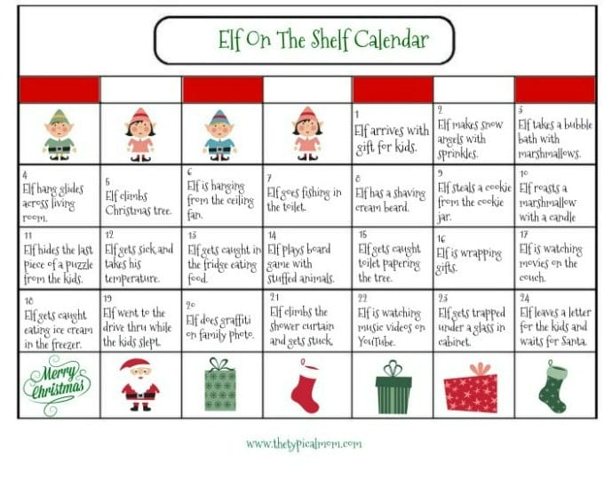 elf on the shelf calendar the typical mom. Black Bedroom Furniture Sets. Home Design Ideas