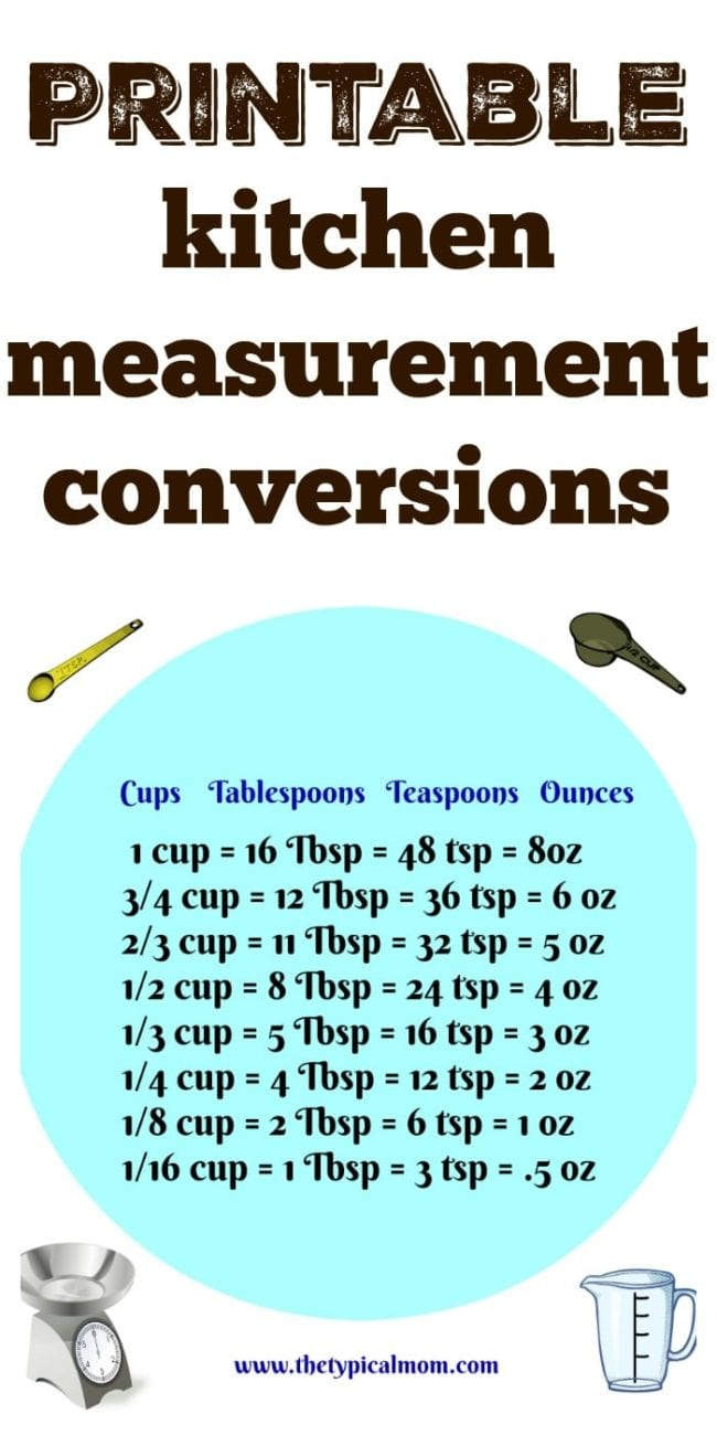 Kitchen Measurement Conversion · The Typical Mom