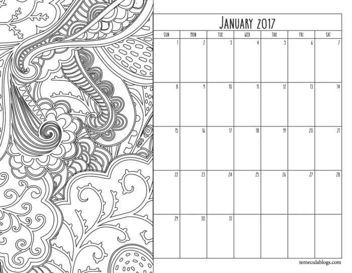 Monthly Calendar The Typical Mom – Free Printable Monthly Calendar