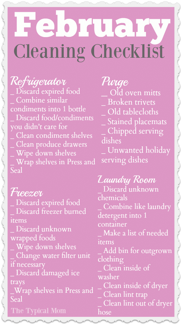 february cleaning checklist