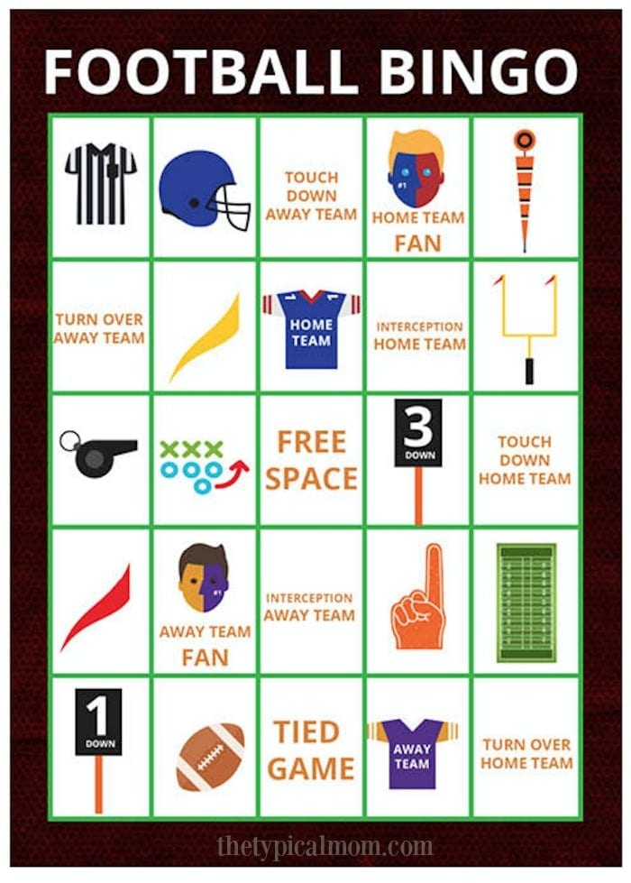 This is an image of Comprehensive Free Printable Football Bingo Cards