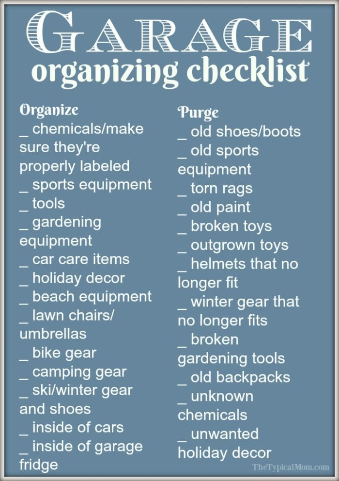 Here are a few easy garage organization ideas and a free garage organization printable to help you purge and organize! What to do with seasonal items and what should be donated now. Let's get your garage organized so you can find everything again and fit your cars inside! #garage #organization #printable #free
