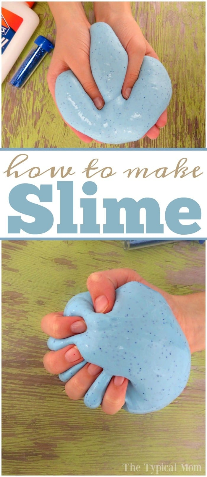 This is how to make slime with glue and a little glitter inside too! Easy recipe using just a few ingredients, and you can make it any color you like. The best way to make slime that is very pliable and the base to most  other goo recipes too. Huge list full of other slime recipes attached here too! #easy #slime #recipe #glue #basic #best #glue