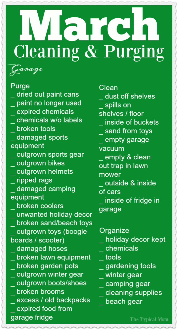 Here's a March cleaning checklist for you to get moving so you can purge and organize that garage this month! Very helpful free organization printable to have each month to keep you on track and focus on one area of your house at a time! Cleaning can be overwhelming but breaking it up is key to your success! #march #cleaning #purging #checklist #list #freeprintable #thetypicalmom #organization #home #house