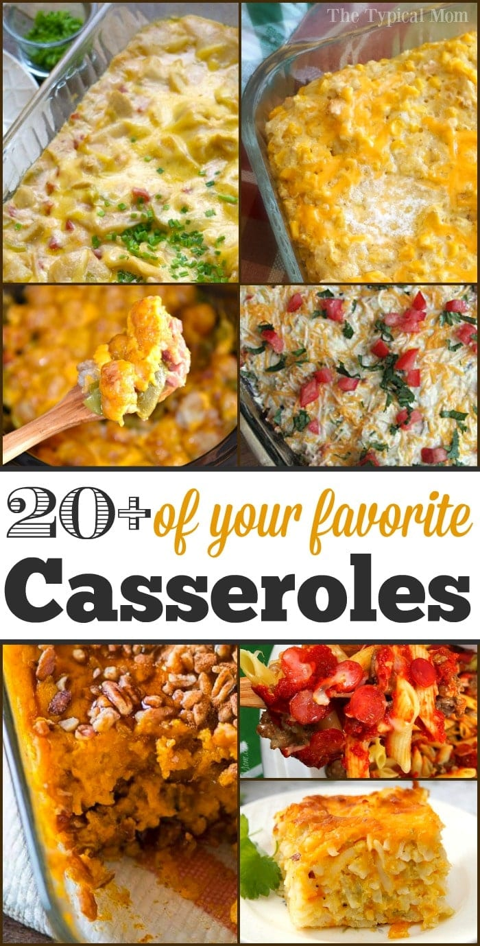 Tons of quick and easy casseroles that are simple to put together, everyone loves, and perfect for leftover turkey and ham too!