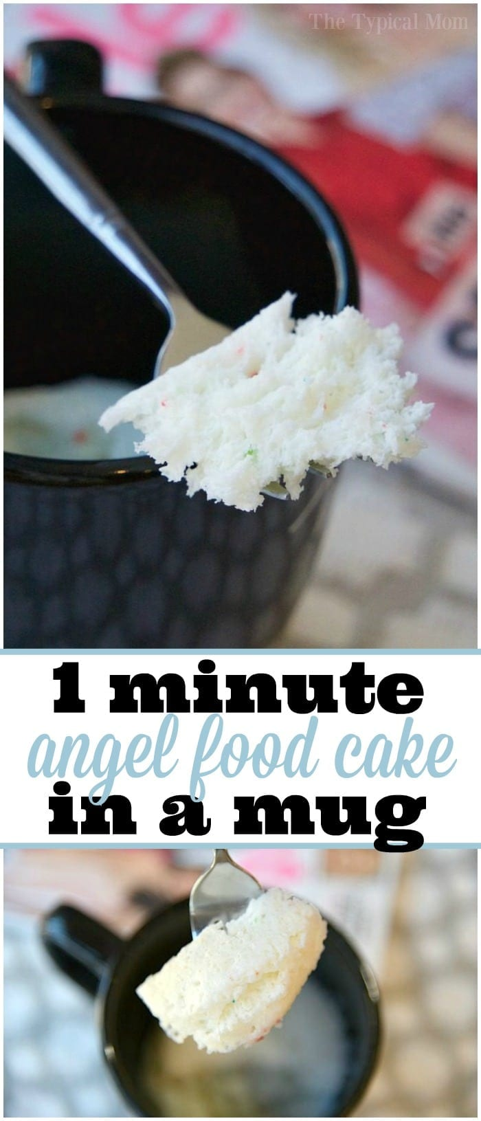 Easy Angel Food Cake in a Mug recipe that takes just 1 minute and it's done to perfection! Perfect dessert for one in a mug that's a guilt free treat.