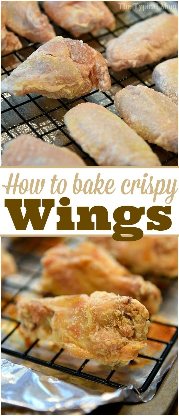 This is how to bake crispy chicken wings in the oven that you will absolutely love! We make these all the time as an appetizer or dinner and they come out crunchy and crispy every time. Here's the trick to making juicy crispy baked chicken wings without frying them. #crispy #baked #chicken #wings #healthy