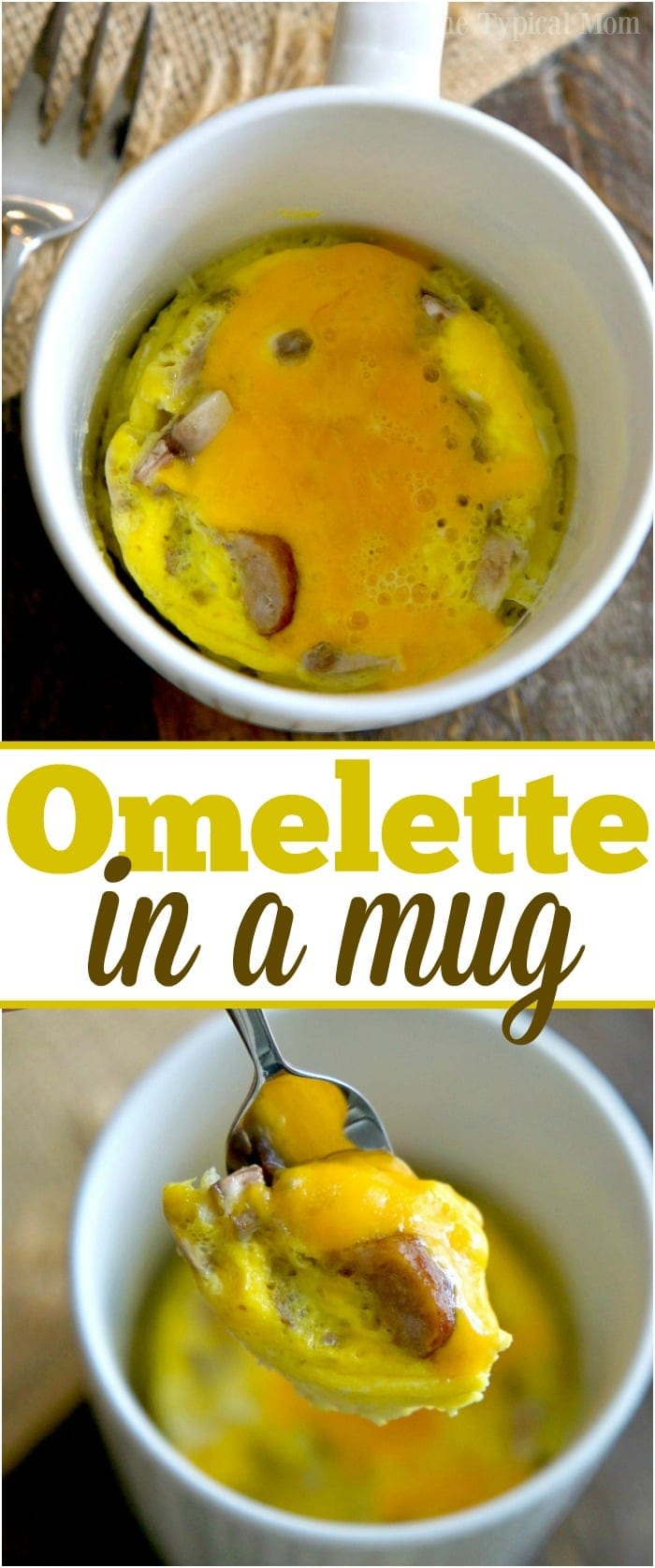 You've got to try this 1 1/2 minute omelette in a mug recipe, it's amazing!! Perfect breakfast in a mug recipe full of protein, my kids love it too!