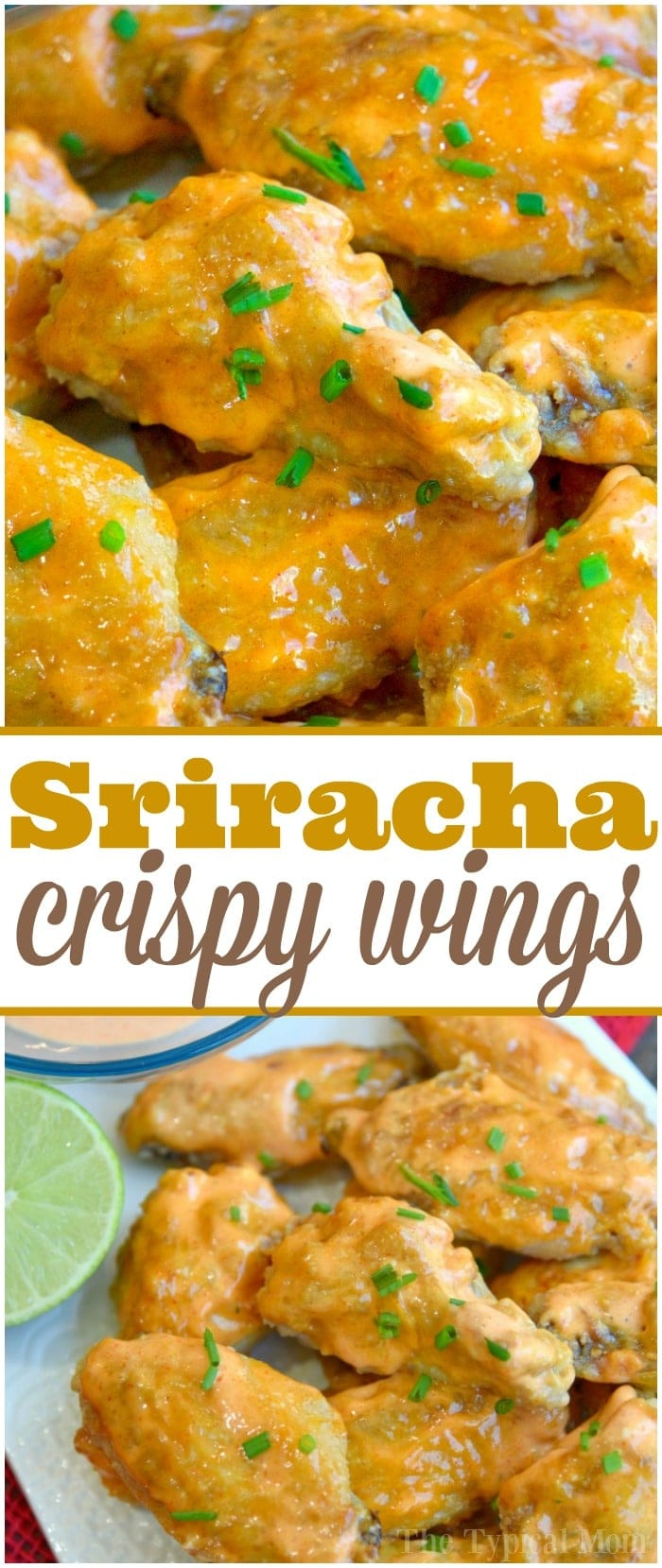 This is the best way to make a batch of sweet Sriracha baked chicken wings! The perfect appetizer or meal that's easy to make. These baked chicken wings are crispy and moist using this trick and the sauce is amazing with just the right sweet and heat you want. #chicken #wings #baked #sriracha #spicy #hot #sweet #crispy