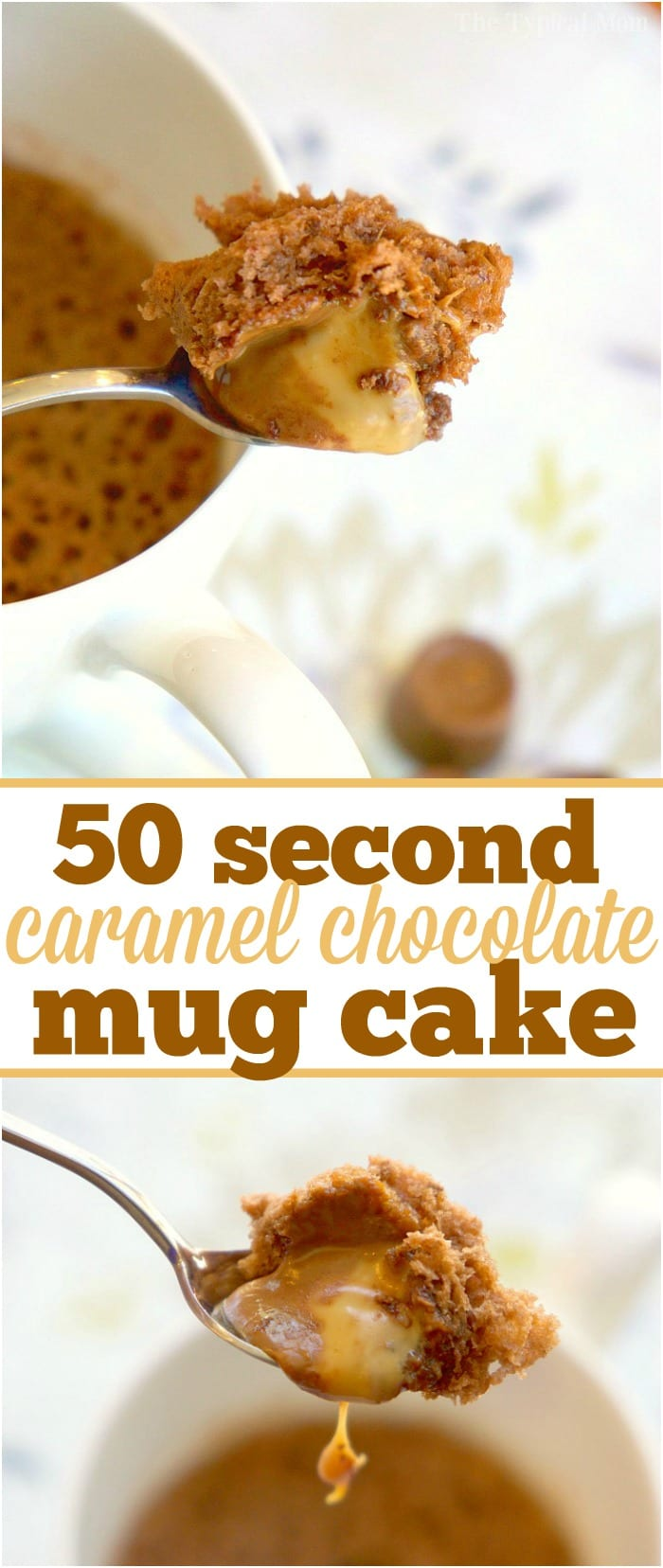 The most amazing caramel chocolate mug cake recipe you will ever try that only takes 50 seconds to cook in your microwave. Just three ingredients to make the cake and when you press a caramel inside it's the perfect treat made just for one person. I make these at night when I have a sweet tooth!  #mug #cake #chocolate #caramel #angelfoodcake #minute #microwave