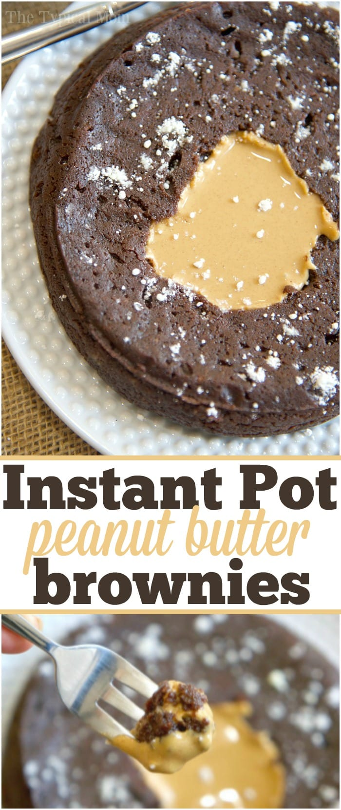 Easy peanut butter filled pressure cooker brownies that are fudgy ooey gooey and just amazing! The best chocolate pressure cooker dessert I've made so far in my Instant Pot!! You have got to try these for a little slice of heaven. #instantpot #pressurecooker #brownies #cake #chocolate #dessert #fudge #flourless #peanutbutter