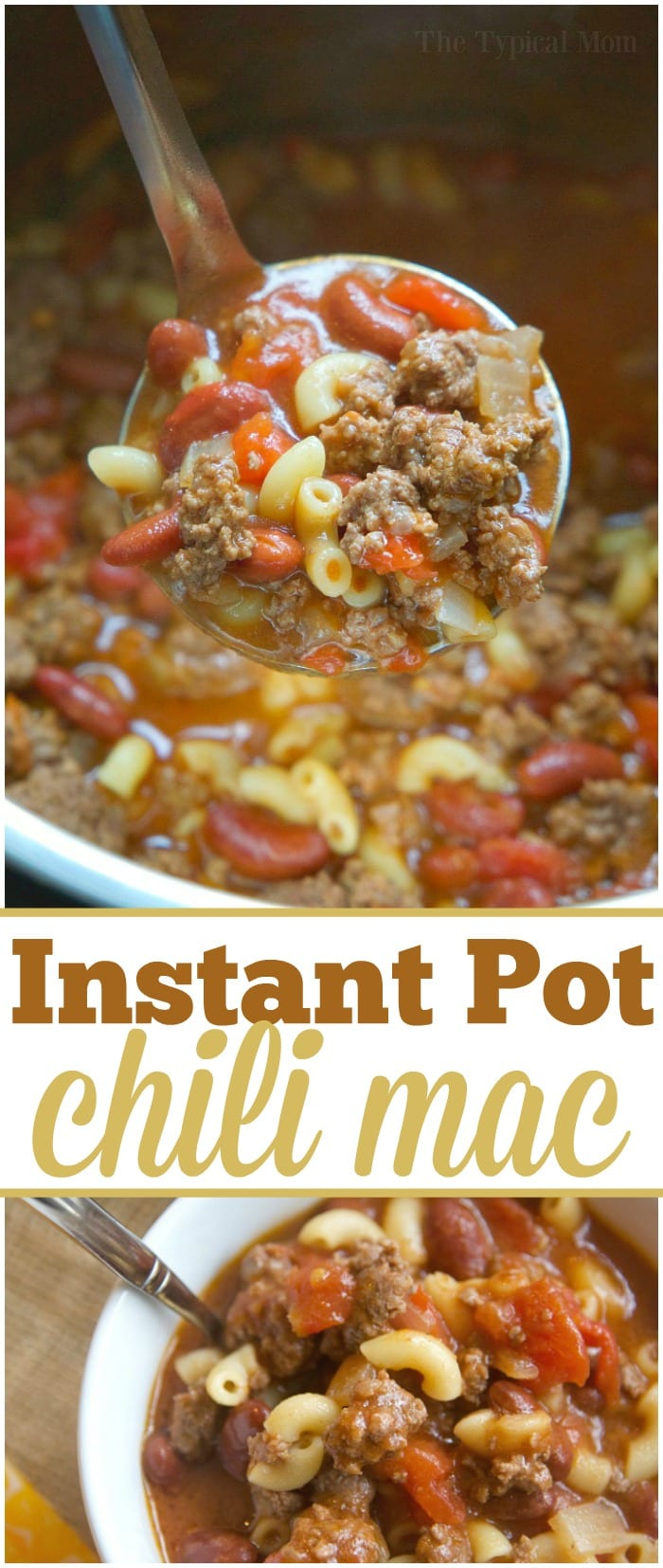 The best 5 minute Instant Pot chili mac recipe that you and your kids will love! A classic old fashioned goulash dinner packed with flavor. #instantpot #chilimac #chili #macaroni #goulash #pressurecooker #groundbeef #easy #dinner