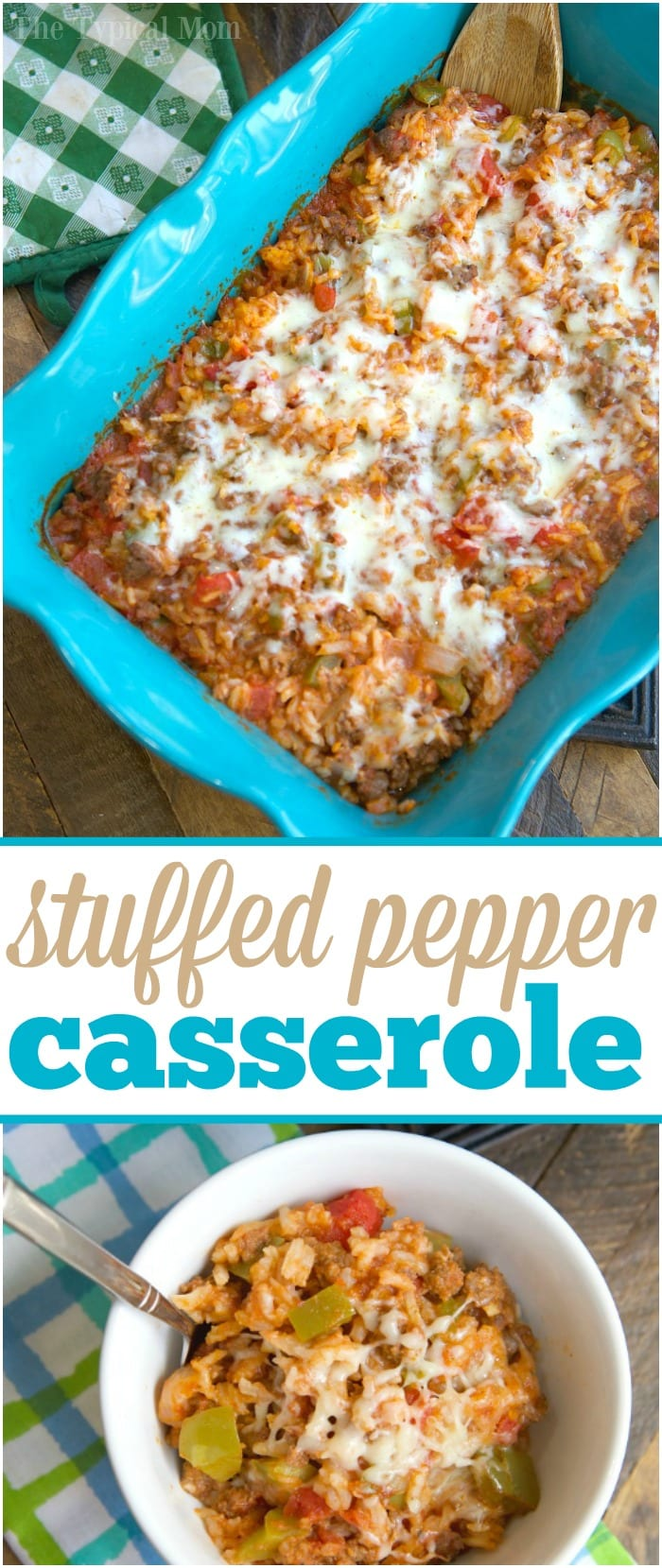 This cheesy stuffed pepper casserole is a family favorite for sure! Like deconstructed stuffed bell peppers it's an easy casserole topped with lots of cheese you can throw together and even my kids love it! Packed with the classic flavors you remember it is easier to make and great the next day too. #stuffed #pepper #peppers #casserole #easy #dinner #groundbeef #unstuffed #rice #green