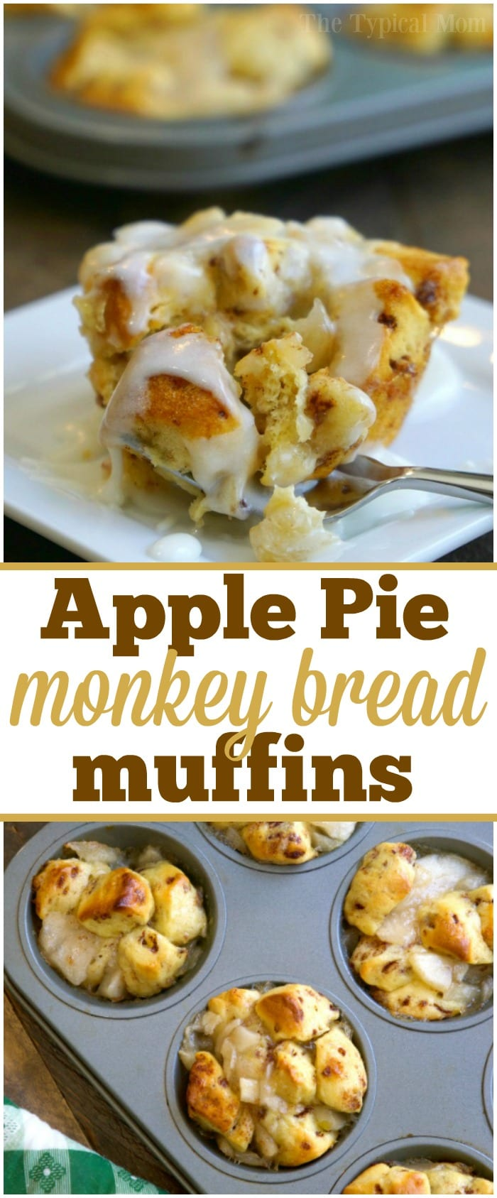 These 2 ingredient apple pie monkey bread muffins are amazing! A quick breakfast or dessert that just takes 15 minutes to make. You've got to try them!