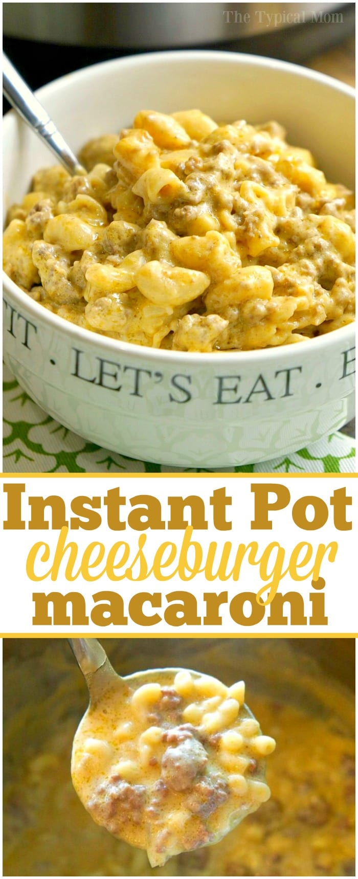 This Instant Pot cheeseburger macaroni recipe will take you back to your childhood! Just 10 minutes in your pressure cooker makes this cheesy goulash hamburger helper style pasta dinner that your whole family will love. It's one of our favorite Instant Pot ground beef recipes. #instantpot #pressurecooker #cheeseburger #macaroni #goulash #hamburgerhelper #groundbeef #recipe #macaroni #cheese