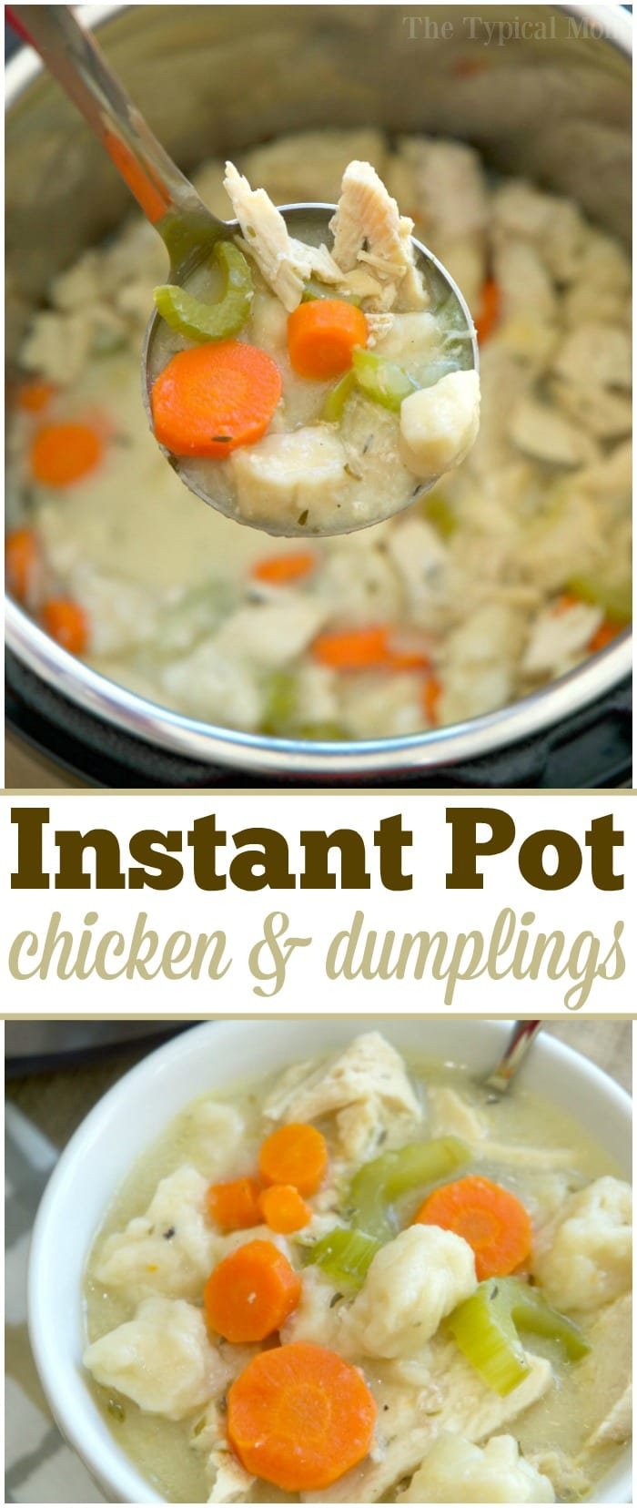 This easy Instant Pot chicken and dumplings recipe is so yummy!i Takes just 20 minutes to make the best pressure cooker chicken recipe ever. The ultimate comfort food made in no time at all and a complete meal all wrapped up in one. #instantpot #pressurecooker #chickenanddumplings #chicken #soup #dumplings