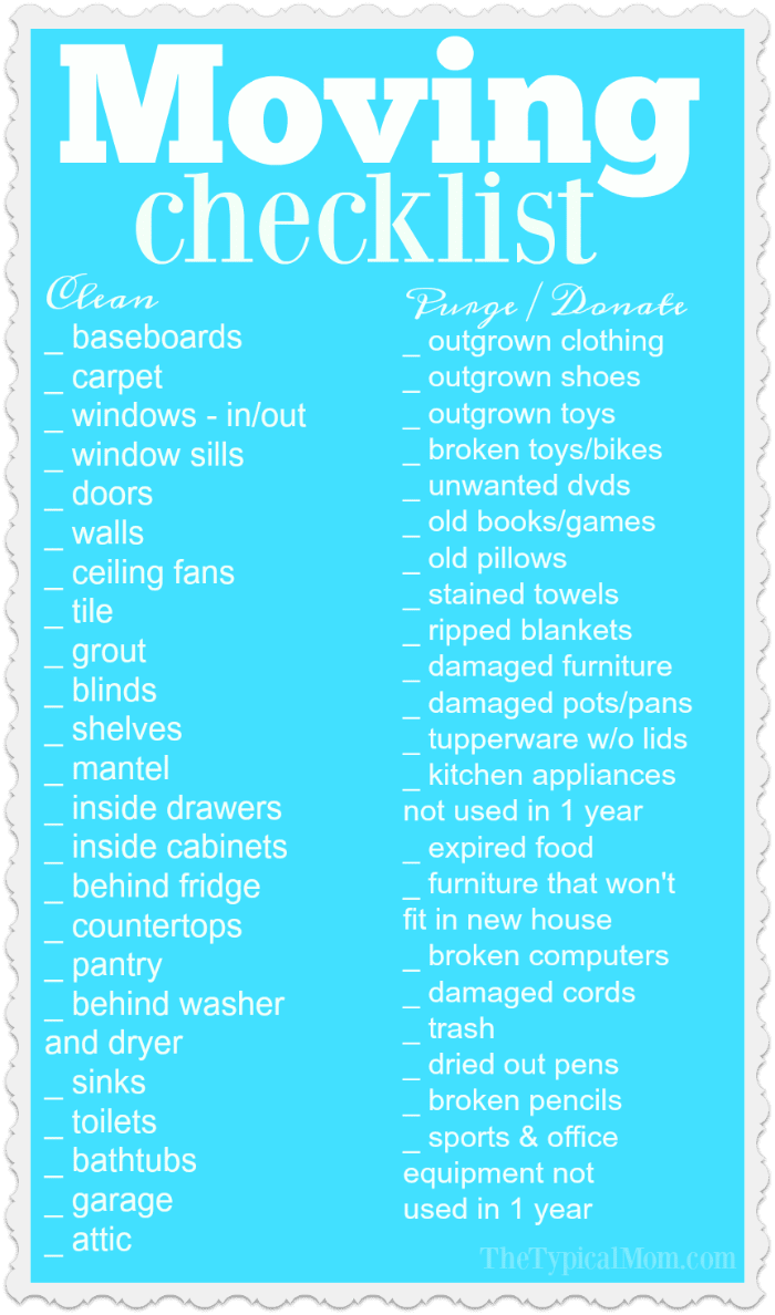 Printable moving checklist the typical mom for Moving into a new house checklist