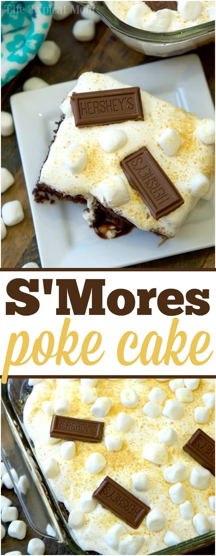 This is the most amazing smores poke cake ever! If you love chocolate with marshmallows and graham crackers over the campfire but want that same flavor at home this is the perfect dessert! With rich cake dripping with chocolate inside and on top it is decadent but easy to make with just a few ingredients. #poke #cake #smores #hersheys #easy #chocolate #marshmallow #dessert
