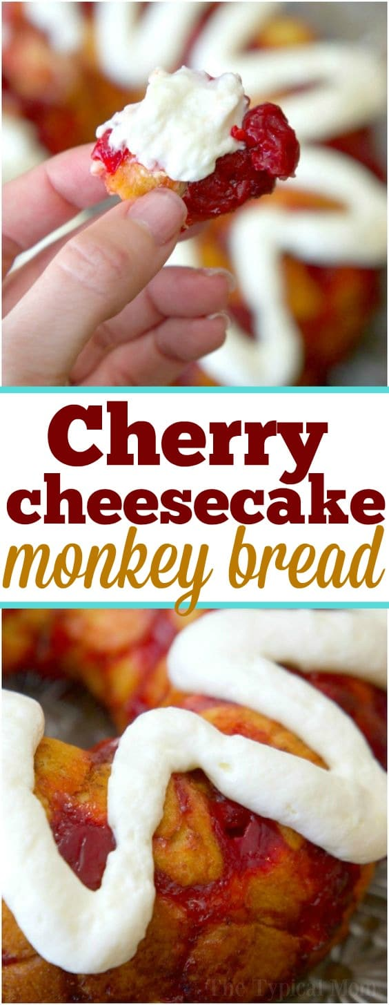 This cherry cheesecake monkey bread is so easy to make with refrigerated biscuits and tastes just amazing! It's a perfect treat for breakfast or dessert and it's a very simple bundt cake to make for any occasion. Using your favorite pie filling like cherry or blueberry you can make monkey bread at home too! #monkeybread #cherry #biscuit #easy #blueberry #fruit #quick #bundtcake #breakfast #dessert