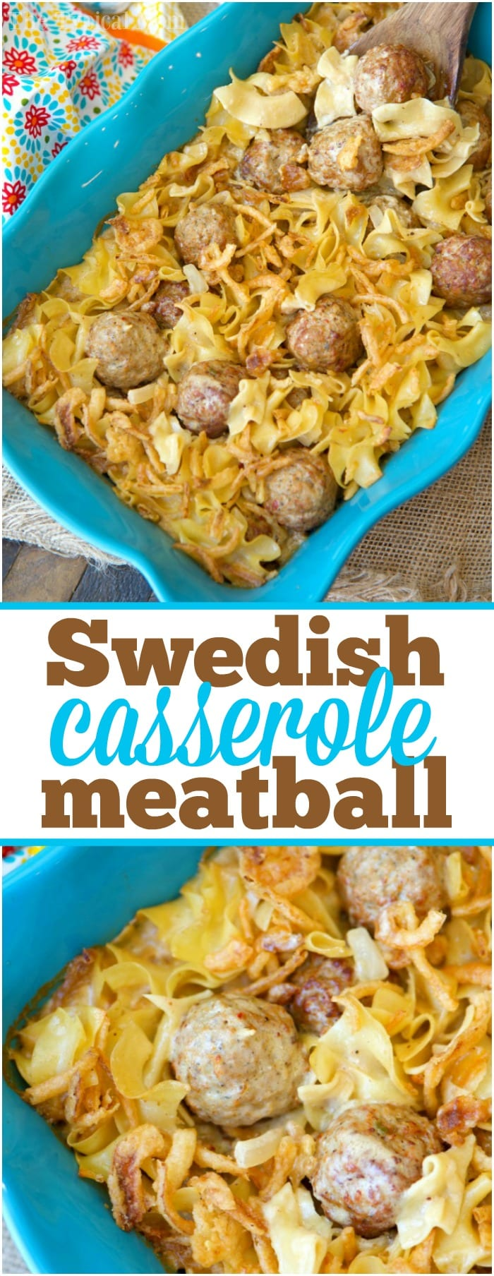 This easy Swedish meatball casserole recipe will bring you back to your childhood but is much easier and quicker to make than you may imagine! This creamy comfort food is topped with the crispy onions you love and will definitely make you want seconds. If you love Swedish meatballs you'll love this twist. #swedish #meatballs #casserole #easy #homemade
