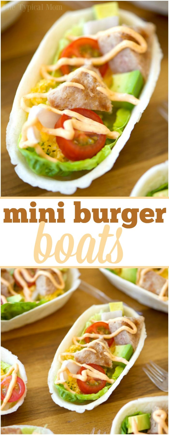These mini turkey burger boats are the best appetizers! Packed with protein and fresh produce they are the perfect bite size for everyone, and healthy too. #appetizers #burger #groundbeef #boats #hamburger