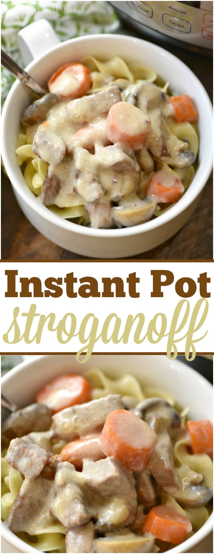 This is a really easy Instant Pot beef stroganoff recipe that is quick and as creamy as you remember from your childhood! Total comfort food made in your pressure cooker in a fraction of the time it used to. With a creamy sauce and tender beef it is sure to please everyone in your house for dinner. #instantpot #pressurecooker #beef #stroganoff #easy #recipe