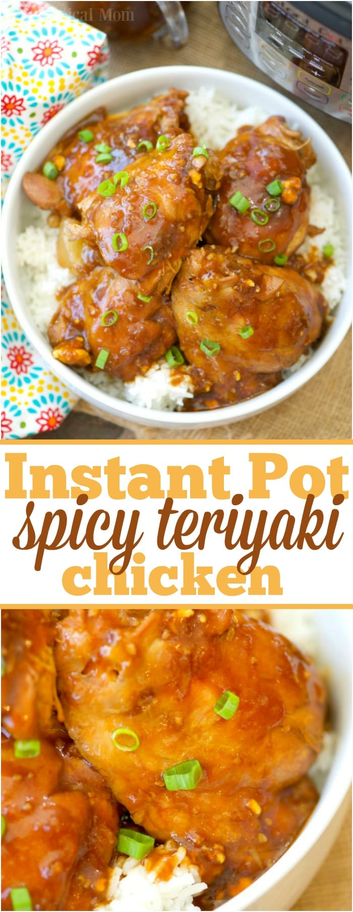 These are some of the most incredible Instant Pot spicy teriyaki chicken thighs I've ever made in my pressure cooker! Moist chicken with a thick sweet and spicy homemade teriyaki sauce you and your kids will love. Healthy dinner loaded with lots of flavor and made in  less than 15 minutes! #instantpot #pressurecooker #teriyaki #chicken #thighs #spicy #healthy #dinner