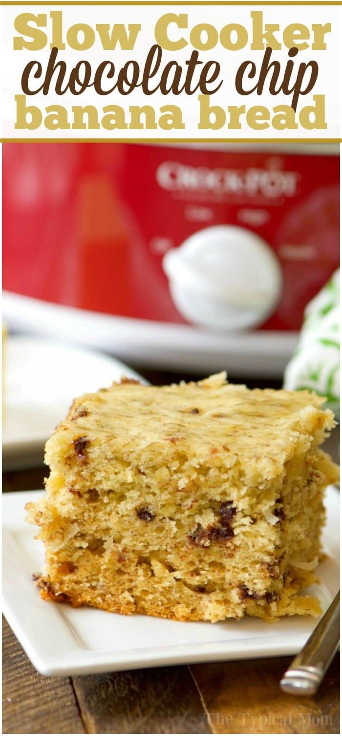 This easy slow cooker chocolate chip banana bread is perfect for breakfast or brunch! Moist banana bread with added coconut that cooks in your crockpot.