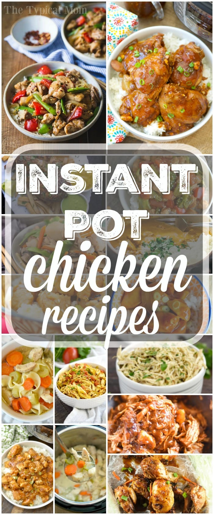 Here's a bunch of easy Instant Pot chicken recipes you can make for dinner! We love this fancy pressure cooker and chicken can be cooked in no time at all. We have made frozen chicken in the Instant Pot too! Check out this long list of really healthy meals your family will love. #instantpot #pressurecooker #chicken #healthy #recipes #best #simple #easy #dinners #thetypicalmom