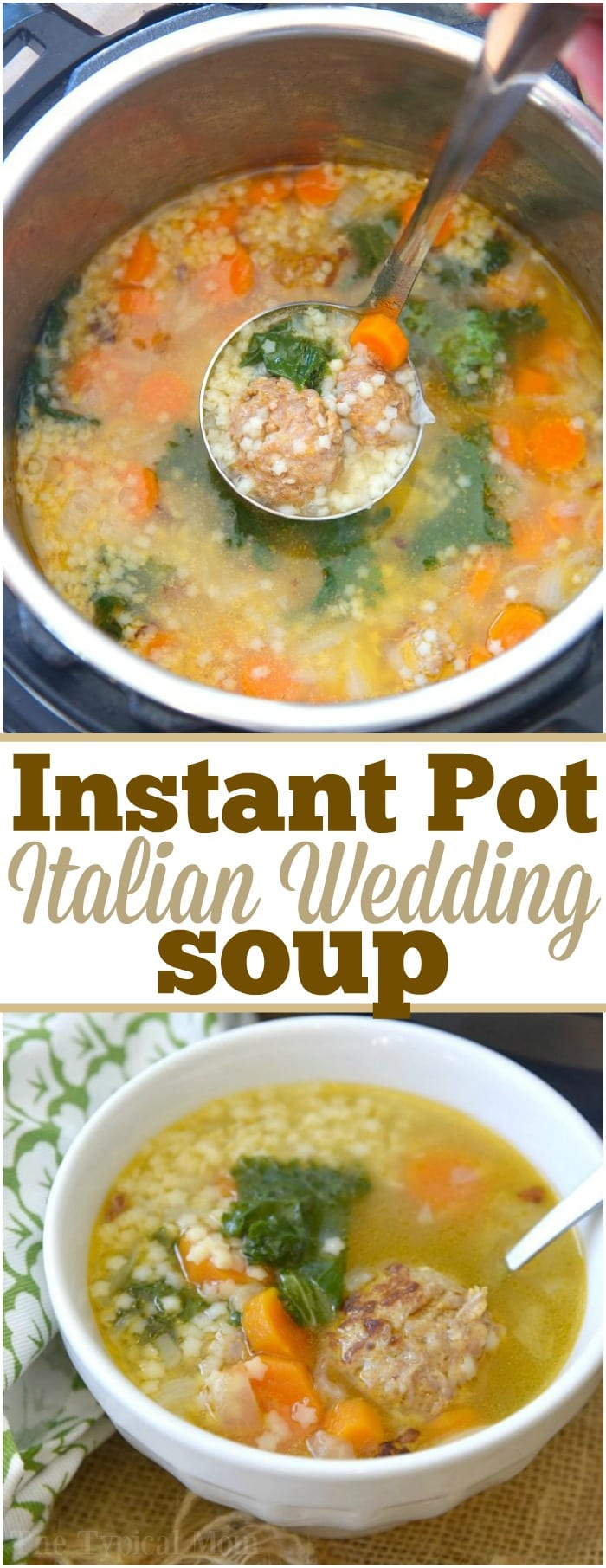 This easy Instant Pot Italian Wedding Soup is perfect year round and a delicious dinner idea. Simple ingredients yet packed with flavor it's a healthy pressure cooker soup that everyone loves! Load it up with vegetables and meatballs and you are sure to add this to your meal planning menu rotations. #instantpot #pressurecooker #italian #wedding #soup #healthy #vegetable