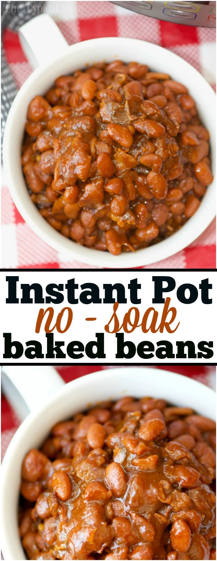 These are some of the most amazing no soak Instant Pot baked beans you'll ever eat! Perfectly cooked in your pressure cooker with no pre soaking required. They're a great sweet and savory side dish for any barbecue and you can add a bit of heat to them too if you want. #instantpot #bakedbeans #baked #beans #nosoak #no #soak #soaking #best #easy #recipe #homemade #bacon