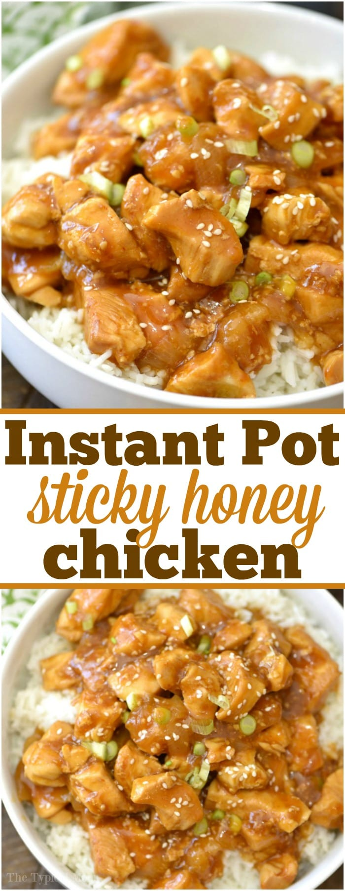 This spicy honey Instant Pot chicken takes just 4 minutes to cook and comes out moist and full of flavor! Sweet and spicy chicken bites smothered in delicious sauce which we love atop a bed of rice. A great healthy pressure cooker dinner our whole family enjoys. #instantpot #pressurecooker #honey #chicken #spicy #sweet #easy #recipe #healthy #sticky