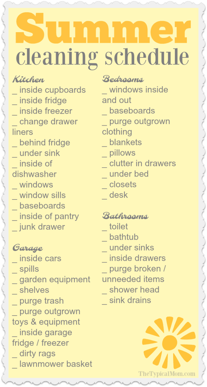 photo regarding Cleaning List Printable named Summer season Residence Cleansing Record · The Traditional Mother