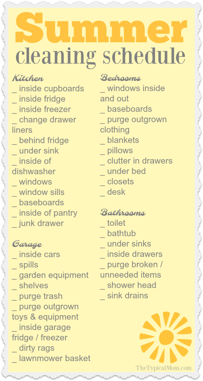 Summer House Cleaning List 183 The Typical Mom