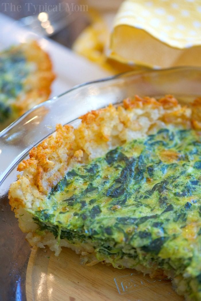 tater tot crusted spinach quiche