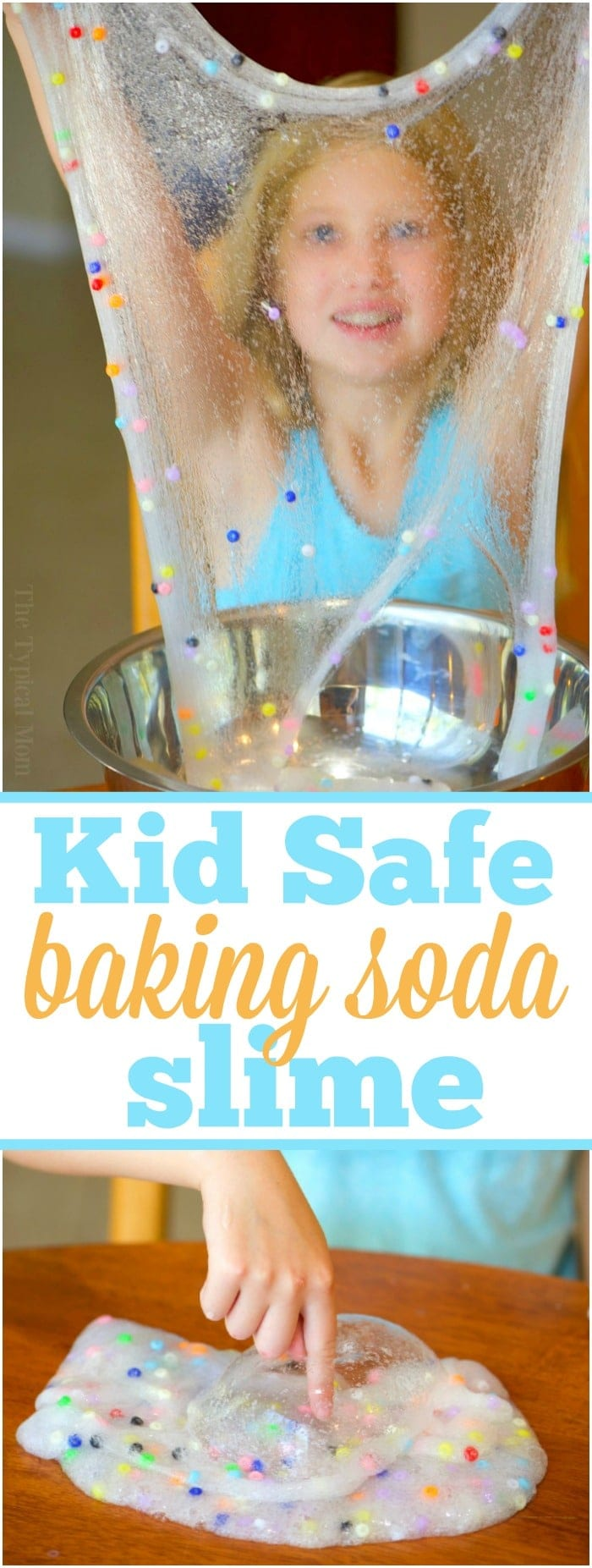 3 ingredient easy baking soda slime recipe without borax that's fun for your kids to make! Simple and safe to play with that you can make colorful too! Take a peek at how you can make this clear slime with contact solution and a few other ingredients. Our favorite slime recipe yet. #clear #bakingsoda #slime #recipe #easy #glue #boraxfree #noborax #withoutborax #safe