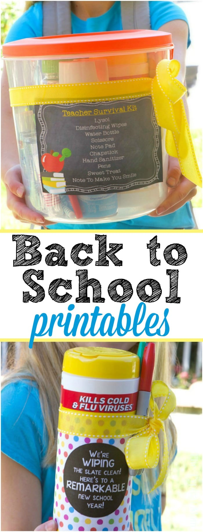 Summer is over and it's time to put together this Back to School Teacher Survival Kit! Here's the free printable and list of things they will all need.