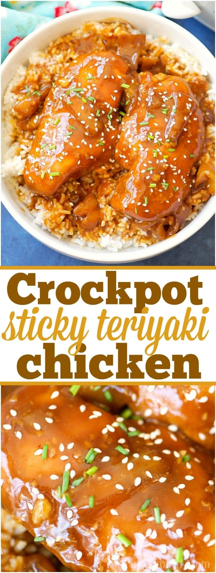 This easy crockpot sticky teriyaki chicken with a kick of heat recipe is amazing and a healthy meal too! Sweet with just a pinch of Sriracha makes it great! #crockpot #slowcooker #chicken #teriyaki #sweet #healthy #dinner