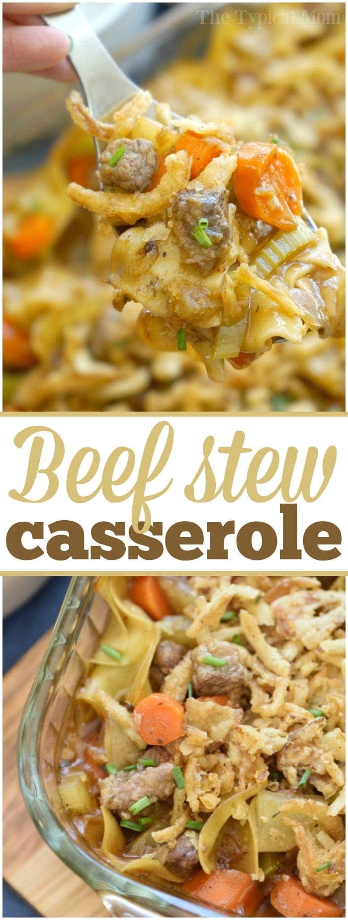 This easy beef stew casserole is comfort food at it's finest!! Packed with tender meat, a thick sauce and lots of vegetables you and your kids are sure to have seconds! Use stew meat or ground beef to make this simple casserole that may become your new family favorite meal. #beef #stew #casserole #easy #vegetable #groundbeef