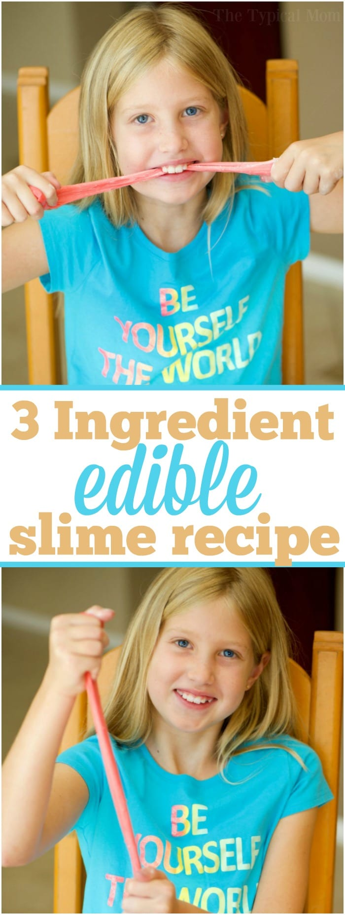 If you're wondering how to make edible slime you only really need 3 ingredients! This is an easy and safe slime recipe that you can eat and tastes great. Let your children create this one on their own and after some sticky fun they can have a treat when they're done. Best edible slime recipe ever. #edible #slime #recipe #safe #boraxfree #noborax #gummybear #easy #best