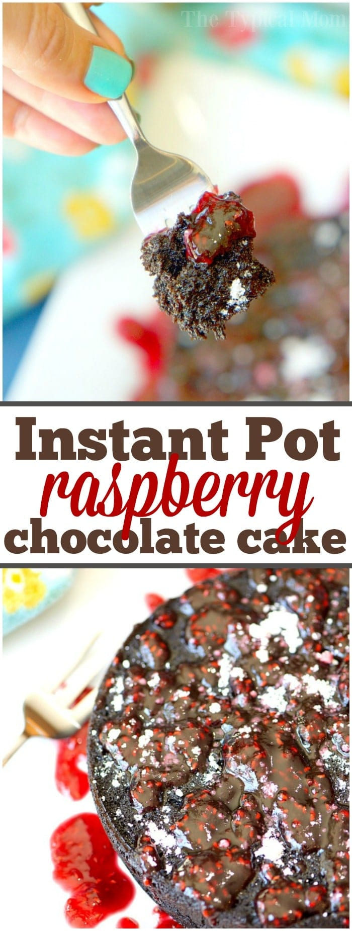 This easy Instant Pot chocolate cake with raspberry sauce recipe is so amazing you won't want to share! The moistest cake ever and only takes 35 minutes!