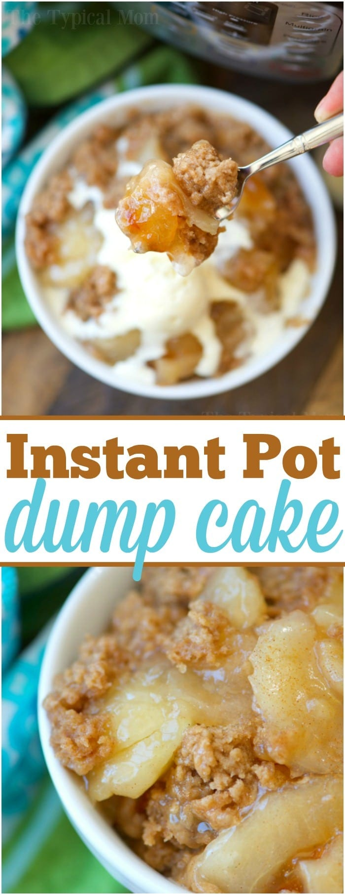 This 3 ingredient easy Instant Pot dump cake is delicious and can be made with any fruit filling! Just dump it in with cake mix and top with ice cream when it's done. The perfect little pressure cooker dessert you're whole family will enjoy. #pressurecooker #instantpot #dessert #dumpcake #cake #apple