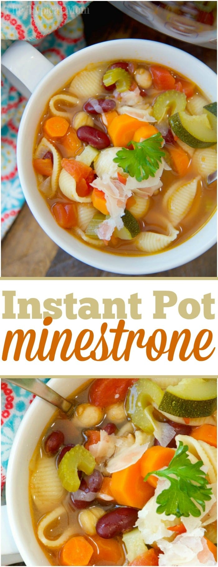 This easy Instant Pot minestrone soup recipe is full of flavor! Healthy and vegetarian too, my kids raved that this was their favorite pressure cooker soup.