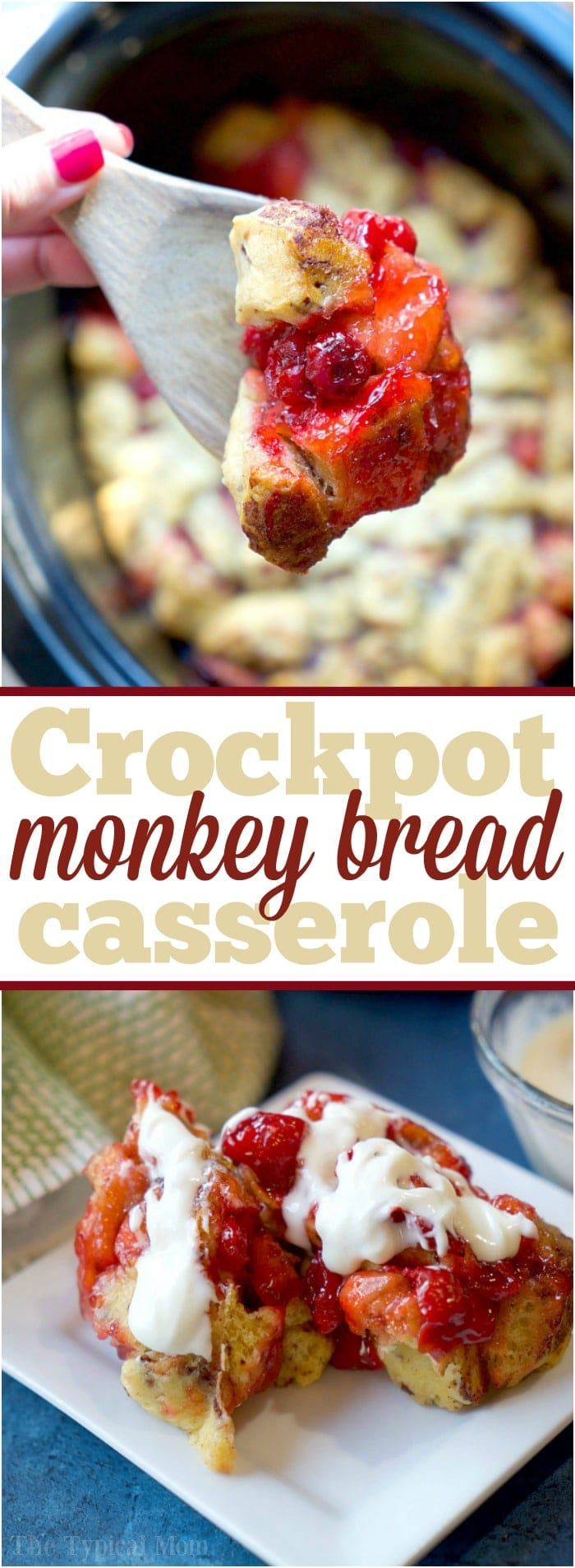 This easy crockpot cinnamon roll monkey bread casserole is perfect for dessert or breakfast! Use any pie filling you like and with 3 ingredients it's done! #monkeybread #crockpot