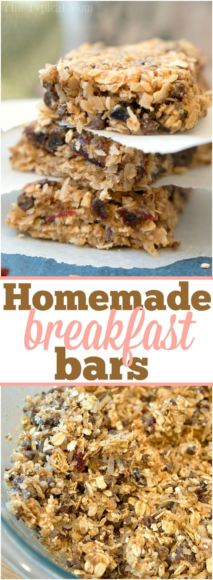 These easy homemade granola bars are delicious and super chewy! Packed with oats, coconuts and a bit of chocolate they're great for breakfast or a snack!