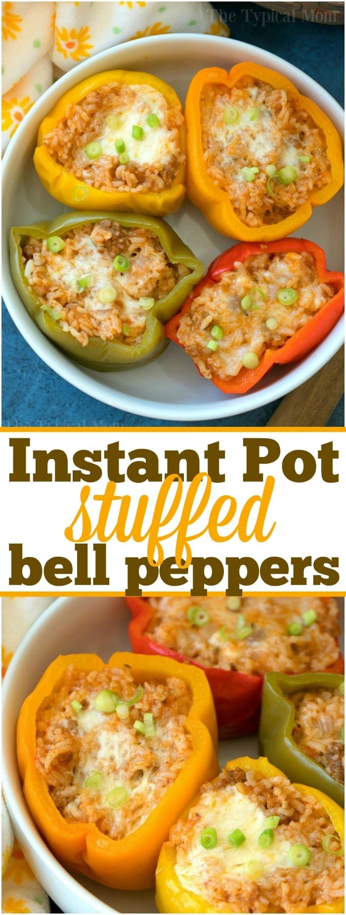 These easy Instant Pot stuffed peppers will be your favorite pressure cooker meal! Green peppers stuffed with cheesy ground beef and rice they're packed with flavor and will bring you back to your childhood! The old fashioned recipe you remember is much quicker in your pressure cooker now! #instantpot #pressurecooker #stuffedpeppers #stuffed #green #peppers #easy #crockpotexpress #easy