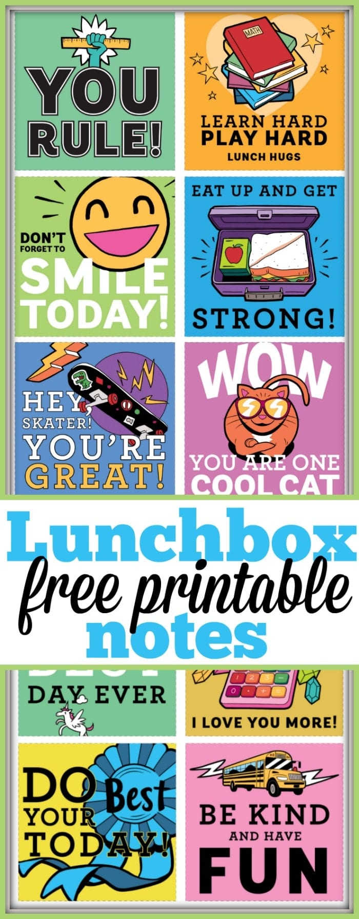 Here are a bunch of free printable lunchbox notes you can cut out and include in your child's lunch boxes to put a smile on their face each and every day! Great for boys and girls and all ages, it is fun to include a little positivity they can read in the middle of the day to keep them going. #lunchbox #notes #free #printables #freeprintables #boys #girls